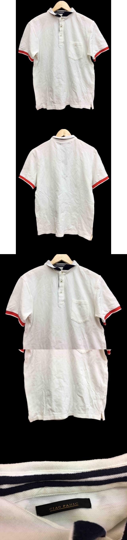 ポロシャツ ライン 半袖 L 白 ホワイト /FH37