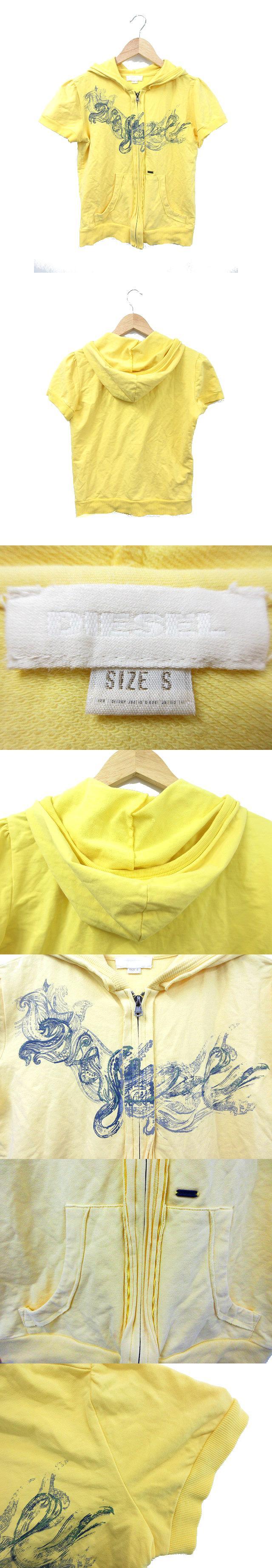 パーカー 半袖 ジップアップ プリント S 黄色 イエロー /TM14