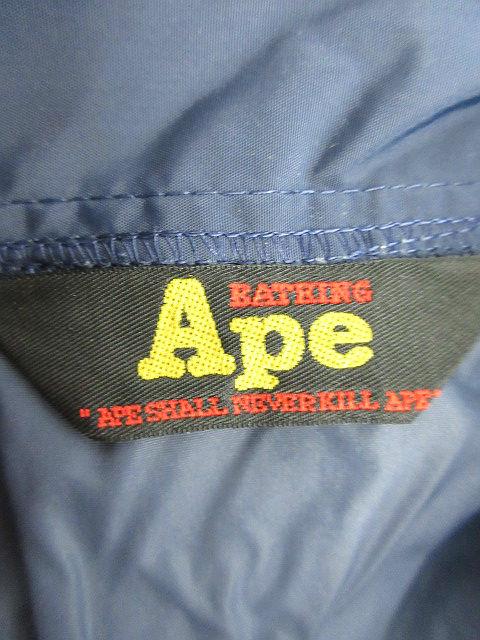 アベイシングエイプ A BATHING APE ジャケット ブルゾン コーチジャケット プリント S 紺 ネイビー /JN20 メンズ