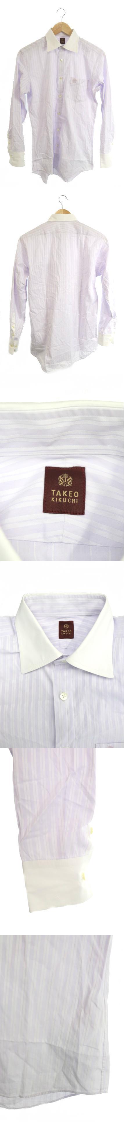 シャツ ワイシャツ クレリック ストライプ ワンポイント 刺繍 長袖 1 紫 白 パープル ホワイト /M2N14
