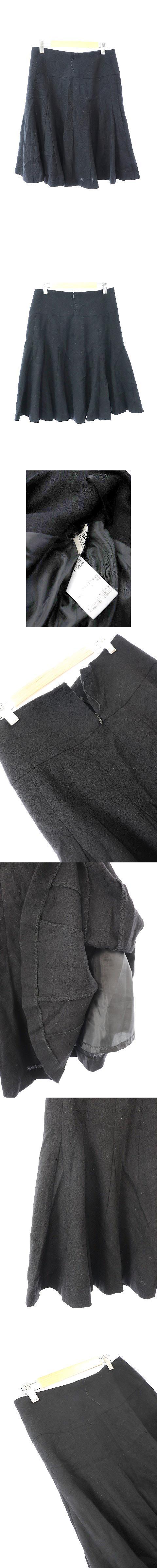 スカート フレアー ひざ丈 ウール 38 黒 ブラック /JN25