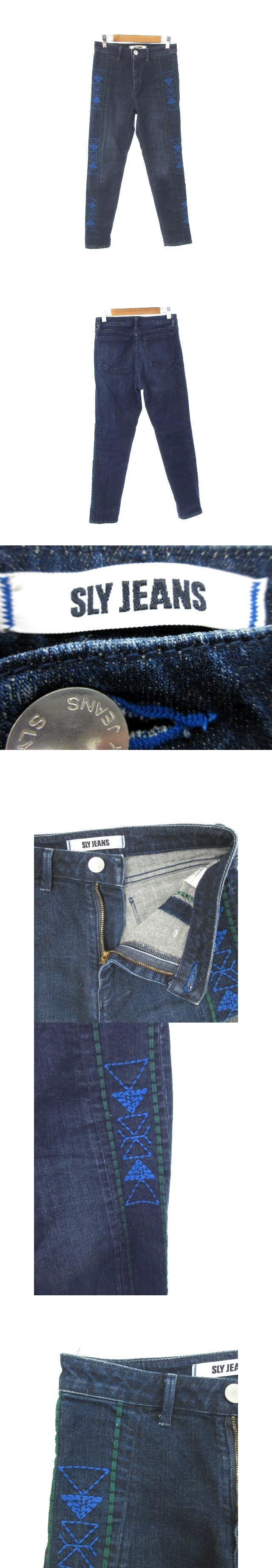 ジーンズ JEANS パンツ デニム ジーンズ スキニー 刺繍 ジップフライ 総柄 1 青 ブルー /YT26