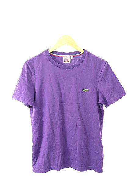 e9a9bb7bdccb1 ラコステ ライブ Lacoste L!VE Tシャツ カットソー クルーネック 半袖 刺繍 3 紫 パープル  JN33 レディース