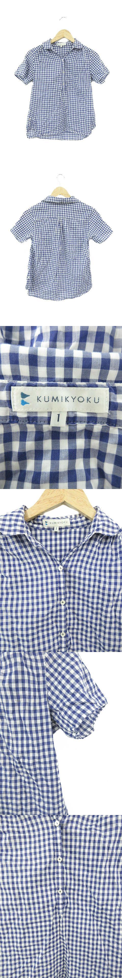 シャツ ブラウス ヘンリーネック チェック 半袖 1 青 ブルー /M3O
