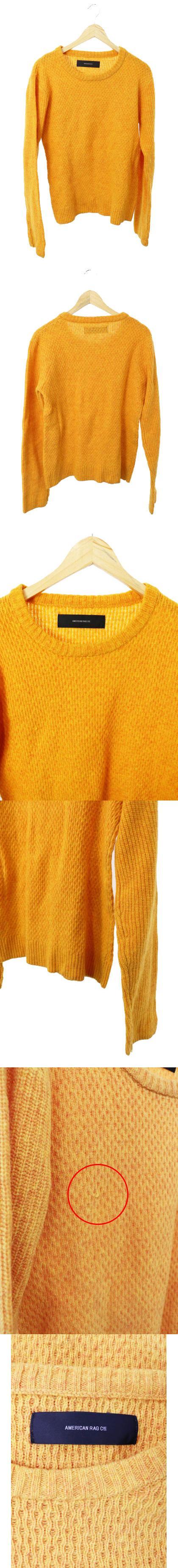 セーター ニット 長袖 クルーネック 編み込み ウール 2 黄色 イエロー /TH11