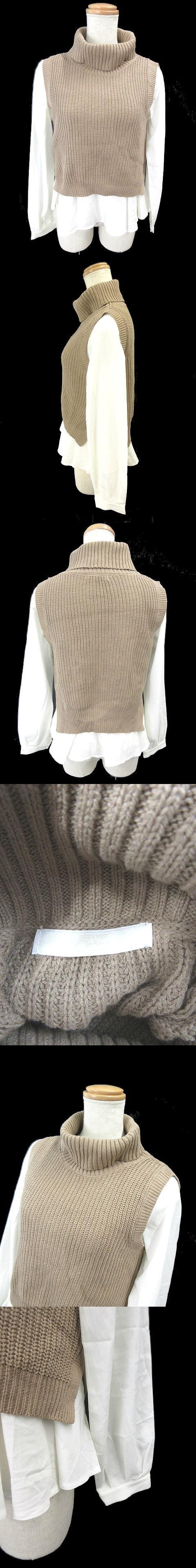 セーター ニット ノースリーブ ベスト タートルネック シャツ 長袖 F 茶 ブラウン /MU7