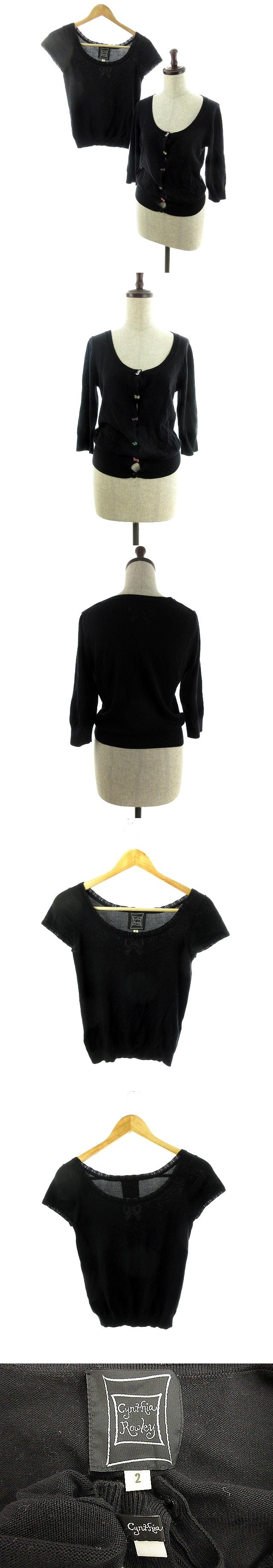 アンサンブル ニット カーディガン 七分袖 カットソー 半袖 リボン 2 黒 ブラック /MO