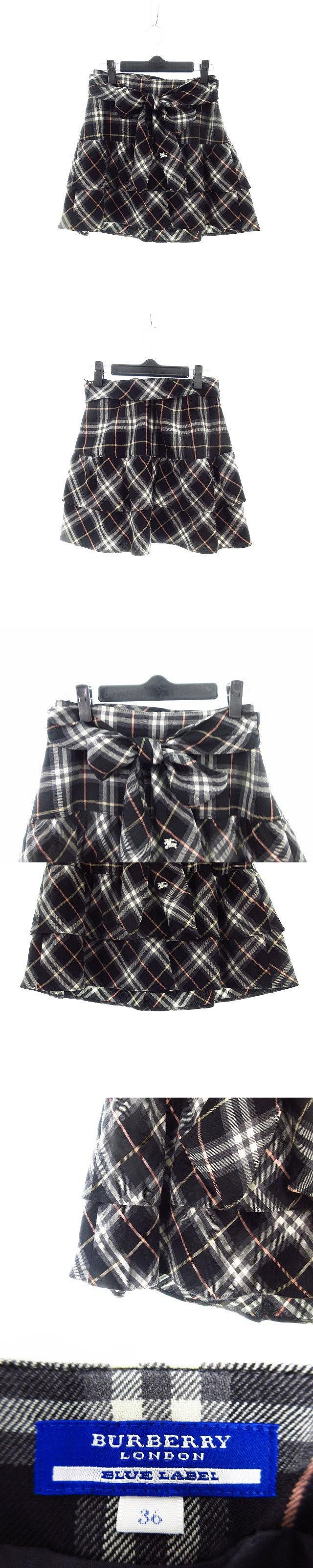 スカート フレア ミニ チェック 36 黒 ブラック /CK