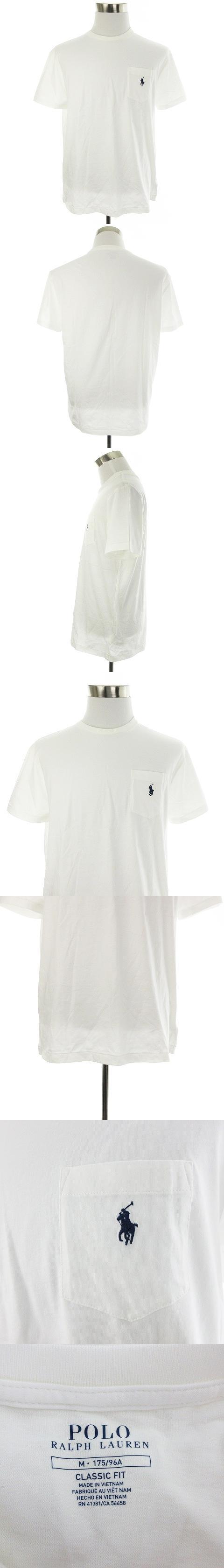 Tシャツ カットソー 半袖 クルーネック 薄手 コットン 刺繍 ロゴ ワンポイント M 白 ホワイト トップス /M2