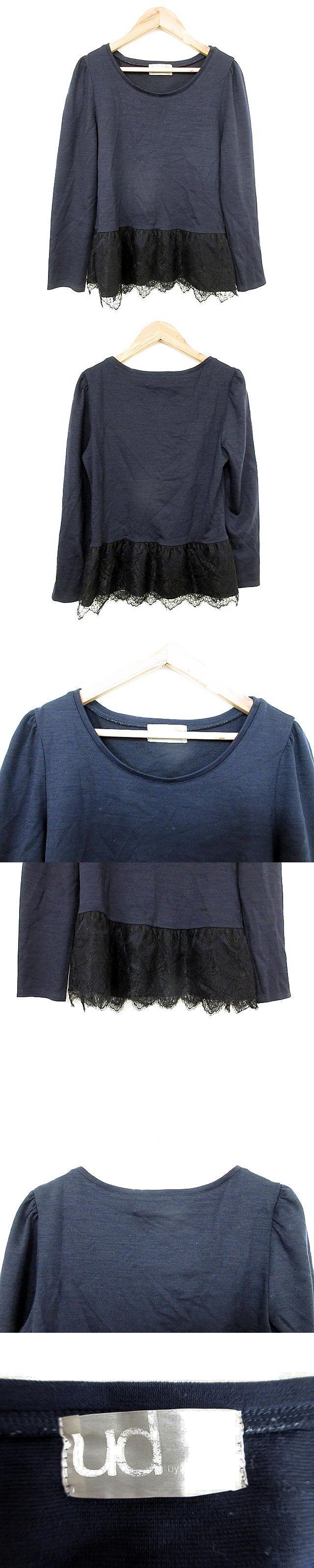 ユーディーバイノーリーズソフィー ud by nolley's sophi  Tシャツ カットソー 長袖 レース 38 紺 ネイビー /AKK