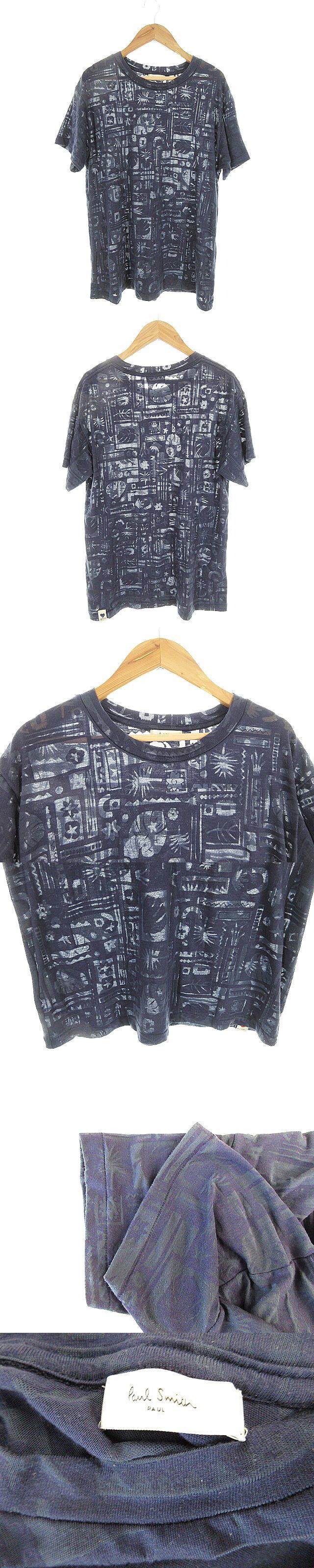 Tシャツ カットソー 半袖 シースルー 総柄 M 紺色 ネイビー /AAO31