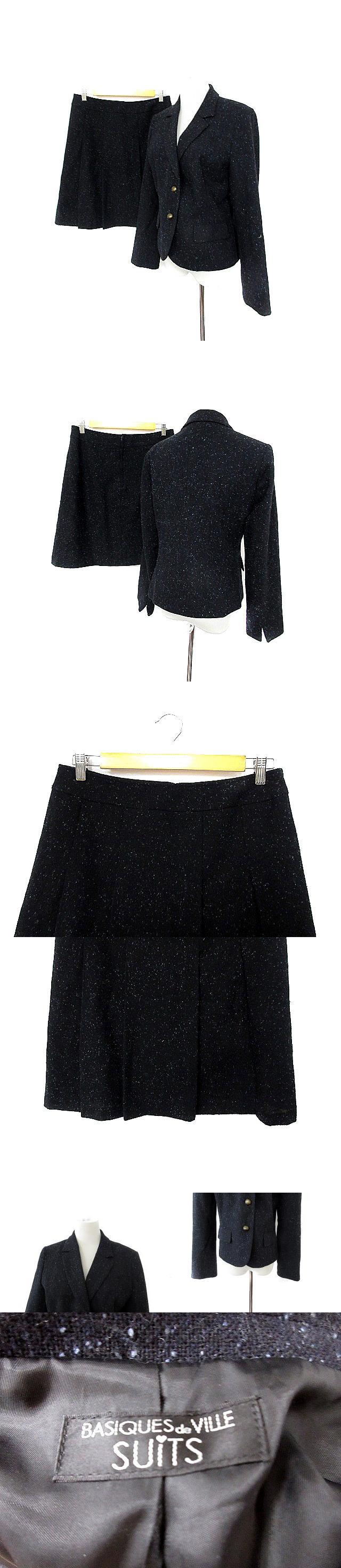 basiques de ville suits スーツ セットアップ 上下  ジャケット テーラード 総裏地 シングルボタン スカート フレア ひざ丈 総柄 紺 ネイビー /AKK3