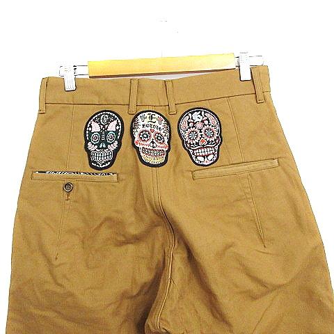 エオトト EOTOTO パンツ サルエル ロールアップ 刺繍 ワッペン S 茶色 ブラウン /AAM4 メンズ