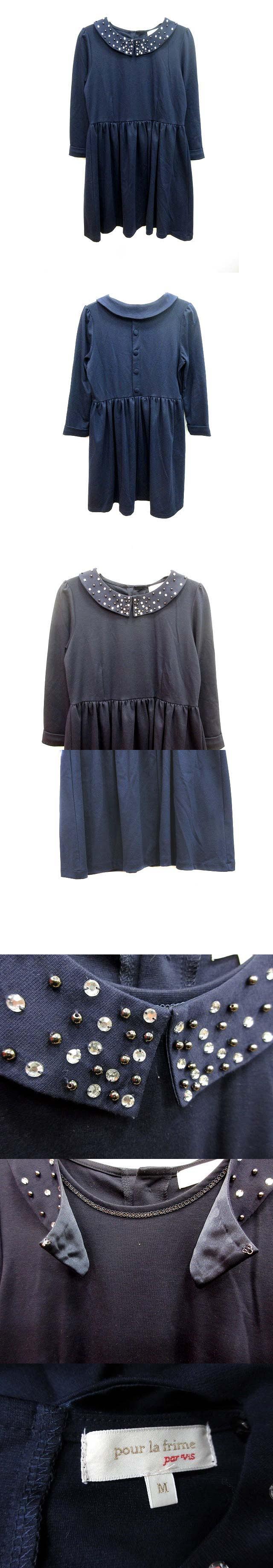 ワンピース フレア ミニ ラウンドカラー 七分袖 ビジュー M 紺 ネイビー /KB