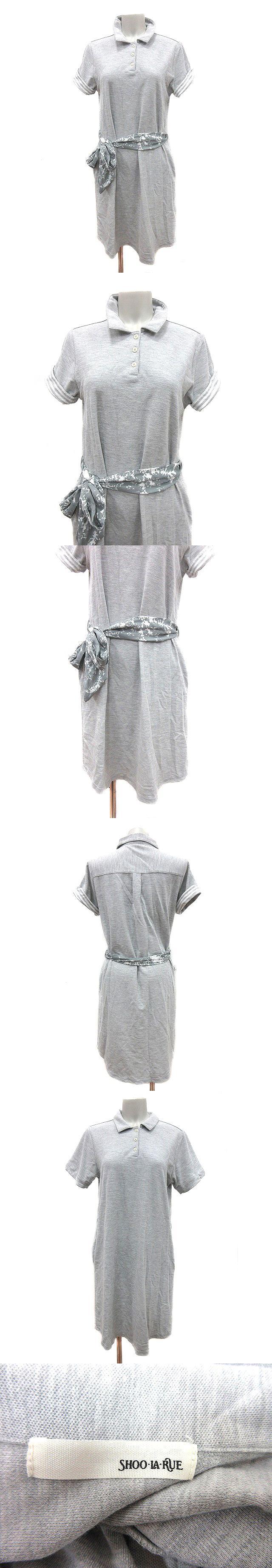ワンピース ポロシャツ ひざ丈 鹿の子 半袖 ロールアップ M グレー /CT