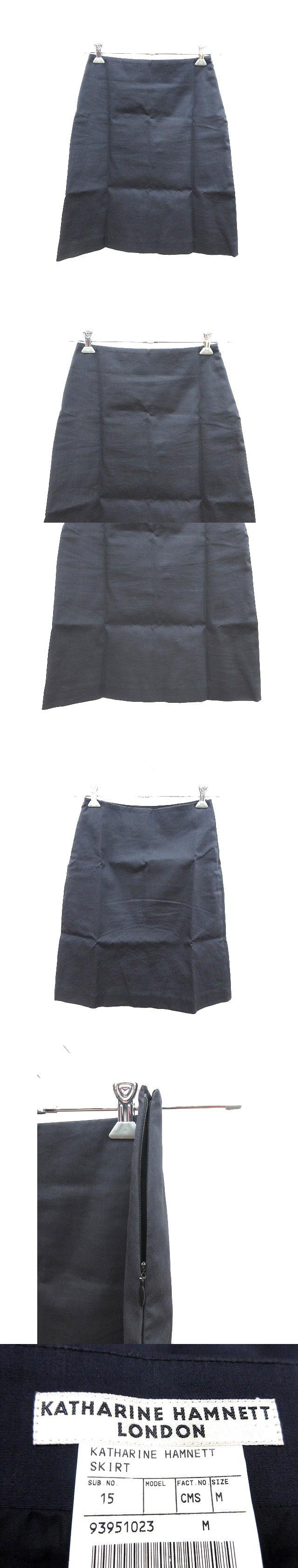 スカート 台形 ひざ丈 M 紺 ネイビー /CT