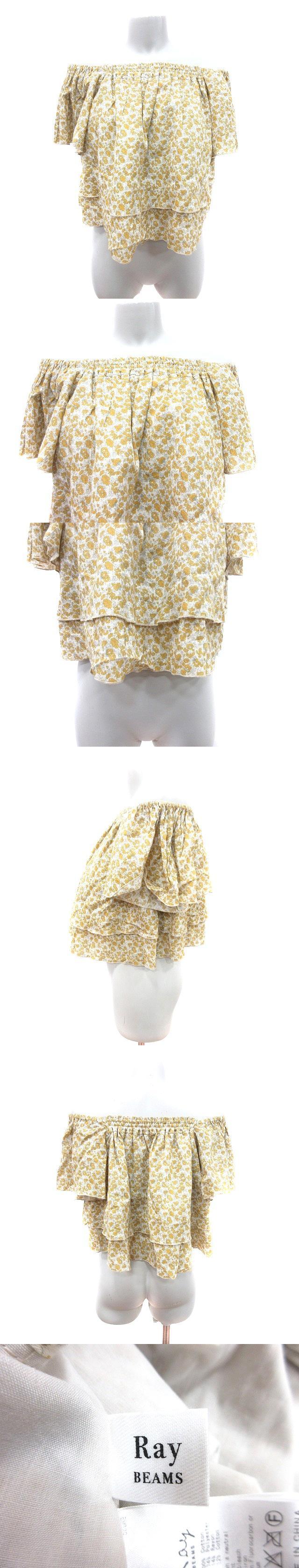 シャツ ブラウス オフショルダー 半袖 フリル 花柄 黄色 イエロー /CT