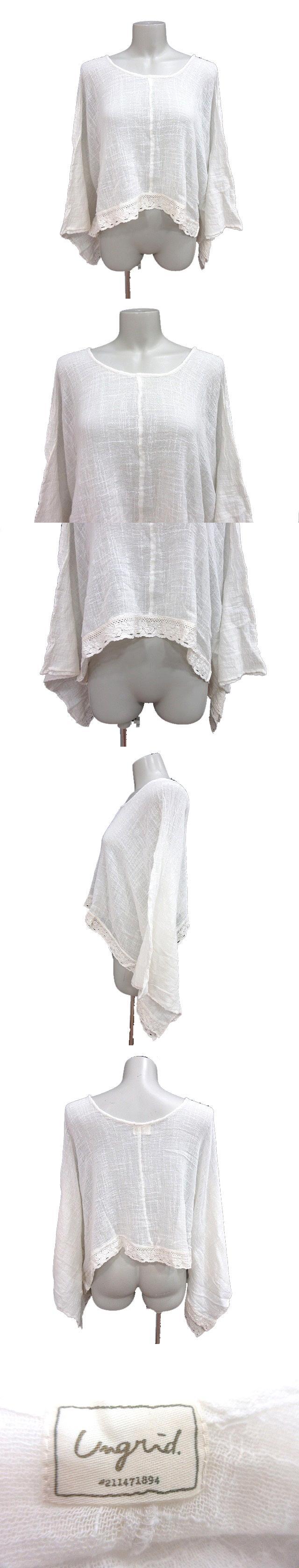 ニット カットソー ショート Uネック ドルマンスリーブ 長袖 フレア袖 刺繍 レース F 白 ホワイト /CT