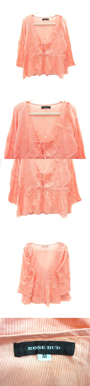 シャツ ブラウス 七分袖 刺繍 シャドーストライプ M オレンジ /CT