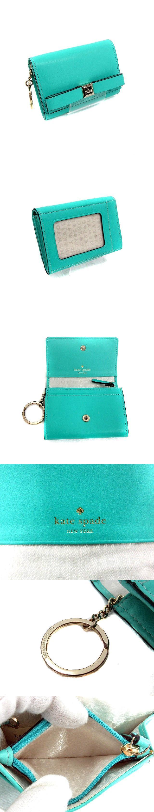 パスケース 定期入れ コインケース キーリング 小銭入れ レザー リボン 緑 ミントグリーン /TI