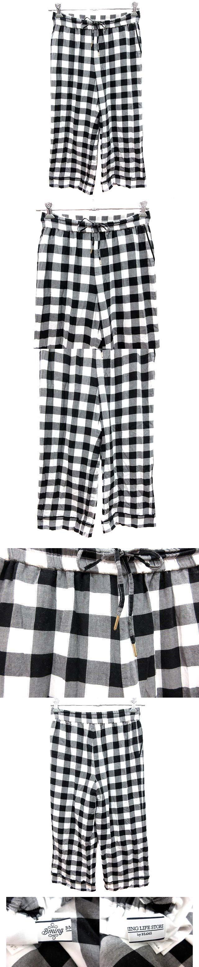 パンツ ストレート ギンガムチェック M 黒 ブラック 白 ホワイト /YK