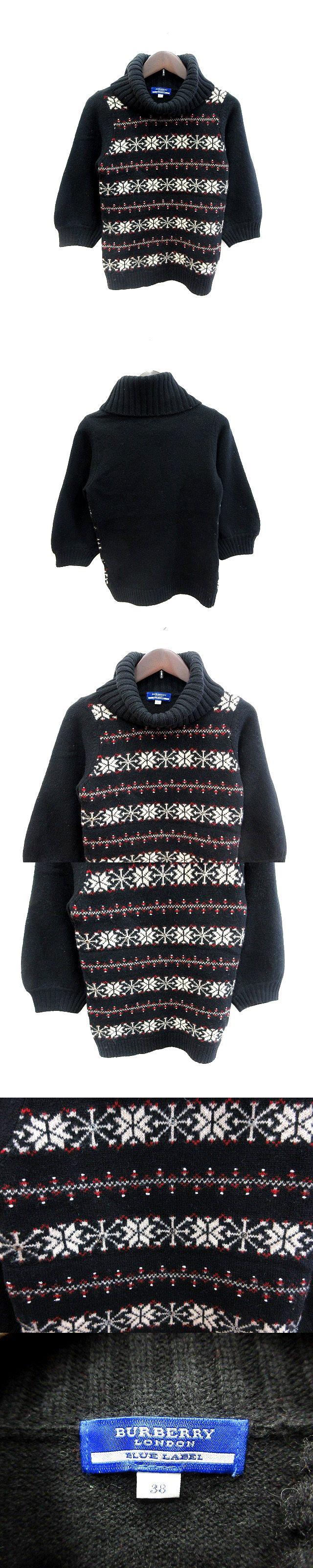 ニット セーター タートルネック スパンコール 総柄 ウール バルーンスリーブ 七分袖 38 黒 ブラック /AU