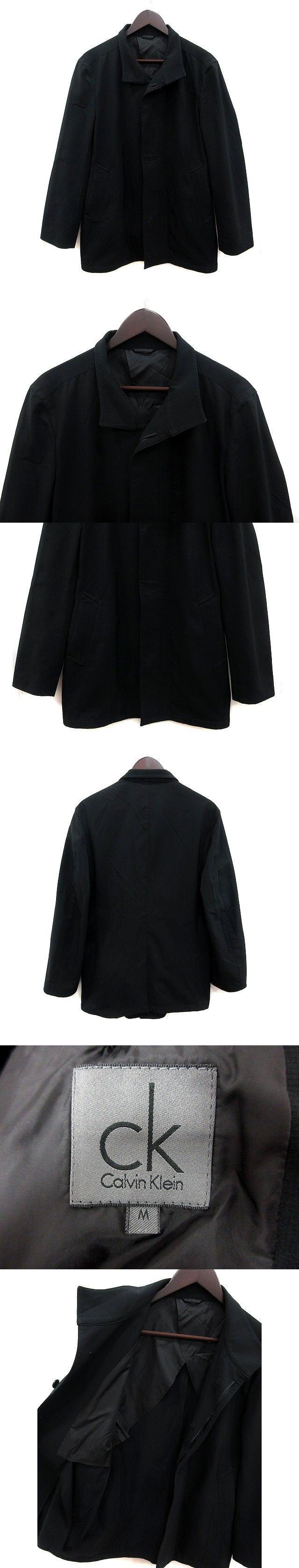 コート ステンカラー シングル 背抜き M 黒 ブラック /MS