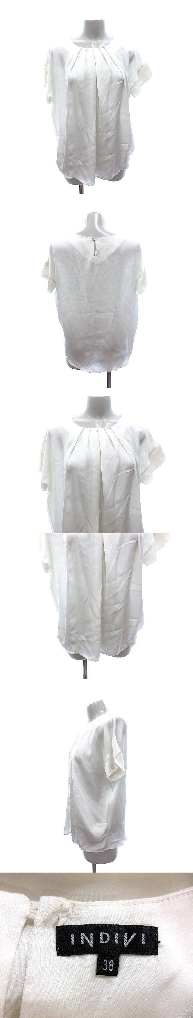 シャツ ブラウス Uネック ドルマン 半袖 38 白 ホワイト オフホワイト /AU