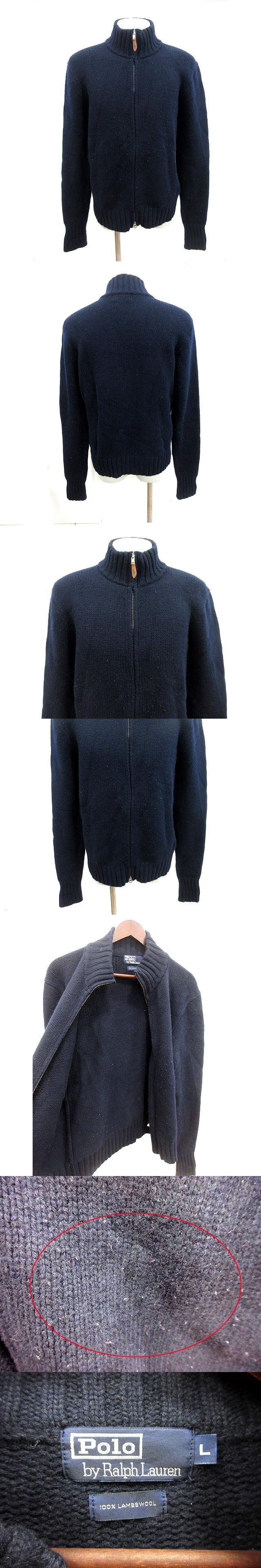 ニットジャケット ハイネック 長袖 ジップアップ ウール L 紺 ネイビー /RT