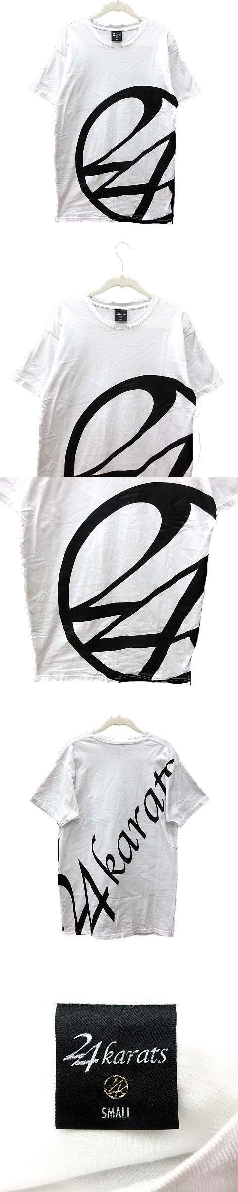 Tシャツ クルーネック プリント 半袖 S 白 ホワイト 黒 ブラック /YK