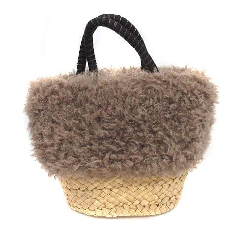 コーエン coen バッグ かご ハンド プードル ボア 巾着 ベージュ 茶 ブラウン /KB レディース