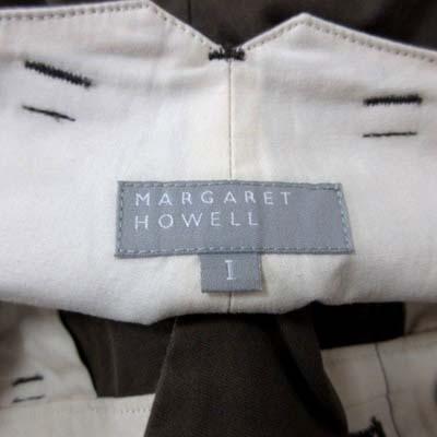 マーガレットハウエル MARGARET HOWELL ワイドパンツ ボタンフライ 1 茶 ブラウン /YI レディース