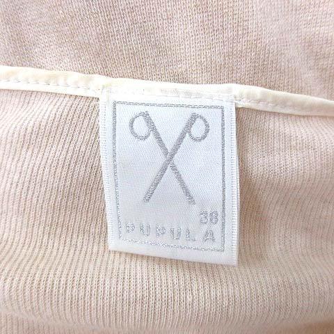 ププラ PUPULA チュニック ニット ヘンリーネック 七分袖 38 ベージュ 白 ホワイト /YK レディース