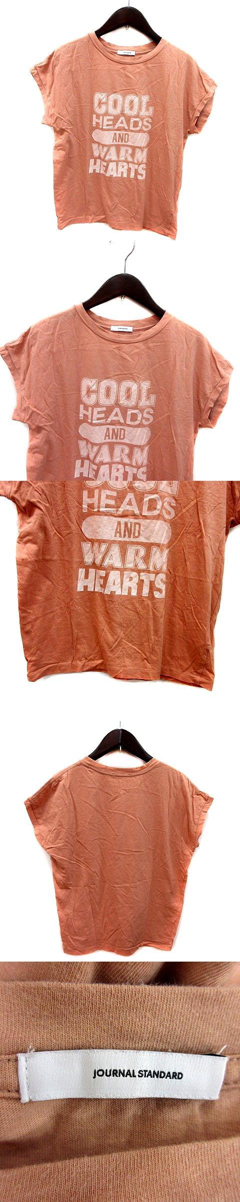 Tシャツ カットソー クルーネック プリント フレンチスリーブ 半袖 オレンジベージュ /MS