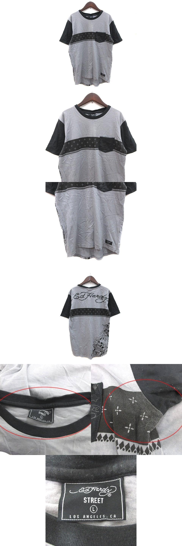 STREET Tシャツ カットソー 半袖 クルーネック バックプリント 切替 L グレー 黒 ブラック /CT