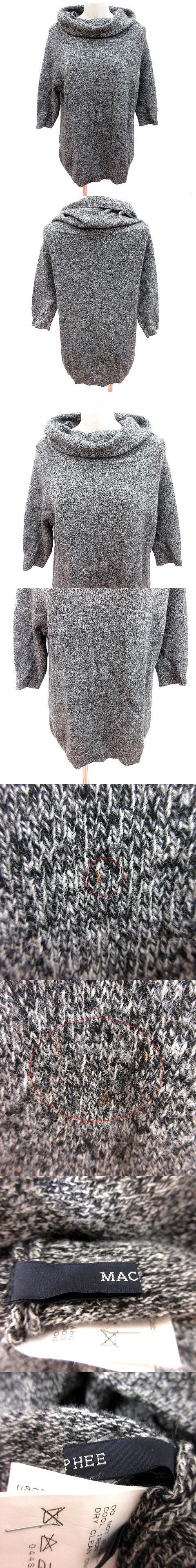 ニット セーター タートルネック 五分袖 ウール 1 グレー /RT