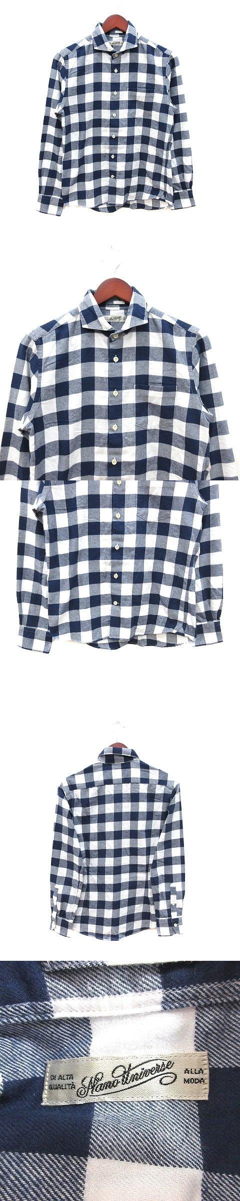 カジュアルシャツ 長袖 チェック S 紺 ネイビー 白 ホワイト /CT