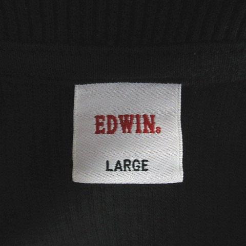 エドウィン EDWIN カットソー ヘンリーネック ワッフル 長袖 L 黒 ブラック /MS メンズ