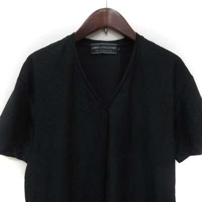 コムサコレクション COMME CA COLLECTION カットソー Vネック 半袖 総柄 L 黒 ブラック /YI メンズ