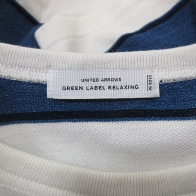 グリーンレーベルリラクシング ユナイテッドアローズ green label relaxing カットソー 鹿の子 ボーダー 半袖 M 紺 ネイビー 白 ホワイト /YI メンズ