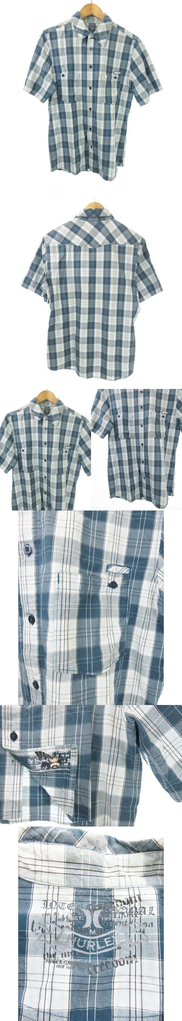 シャツ チェック 半袖 カジュアル M 青 ブルー 白 ホワイト /MN6