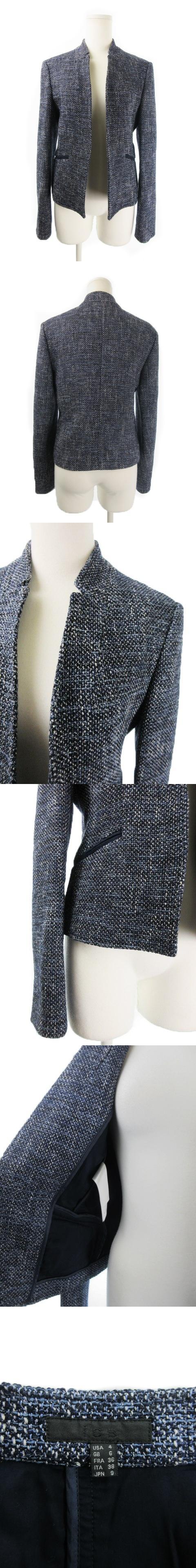 ジャケット トッパー 総裏地 ツイード ラメ ウール混 9 紺 ネイビー /CK12