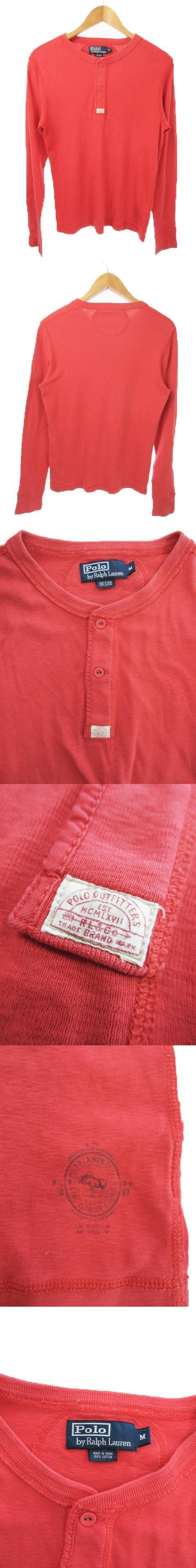 Tシャツ カットソー ヘンリーネック 長袖 ワンポイント M 赤 レッド /MN13