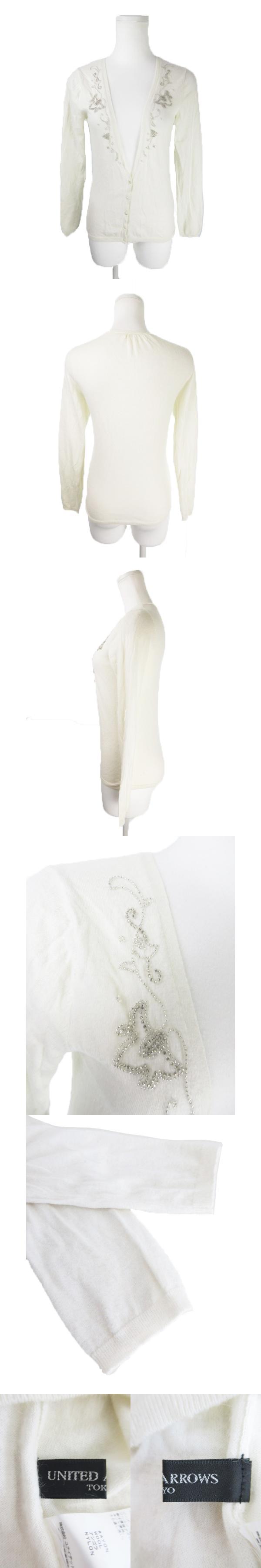 カーディガン ニット 長袖 刺繍 ウール混 アンゴラ混 白 ホワイト /EK10