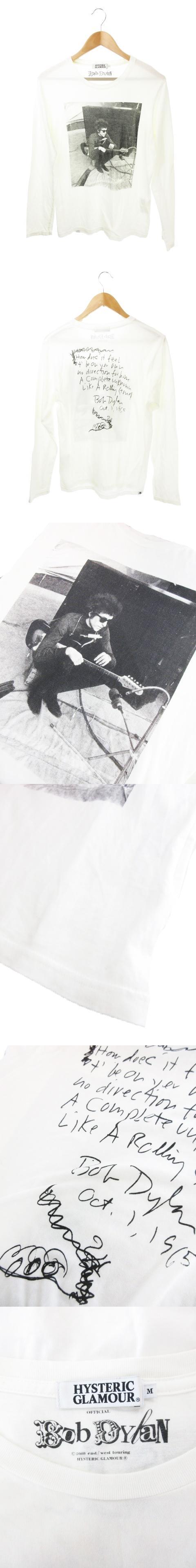 ×  ボブディラン BOB DYLAN Tシャツ カットソー 長袖 サイン プリント M 白 ホワイト /YH5