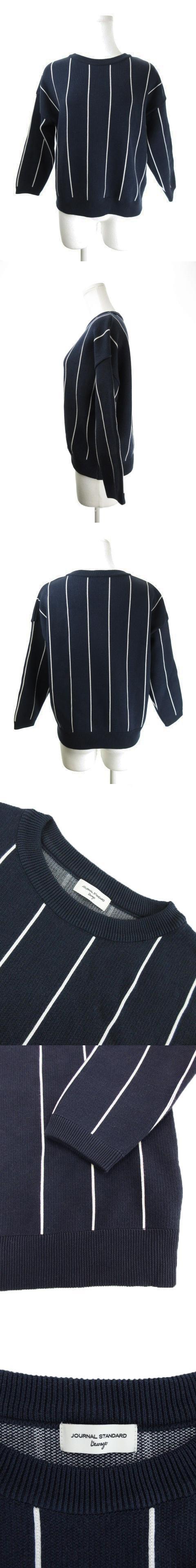 ニット セーター クルーネック 七分袖 ストライプ 紺 ネイビー /AO1