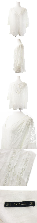 ブラウス Vネック 七分袖 レース 刺繍 リボン オーバーサイズ 透け感 L 白 ホワイト /AO1 ★