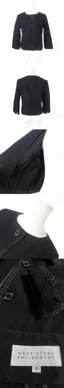 ジャケット ノーカラー 七分袖 ドット 麻混 リネン混 38 黒 ブラック /AO1 ☆