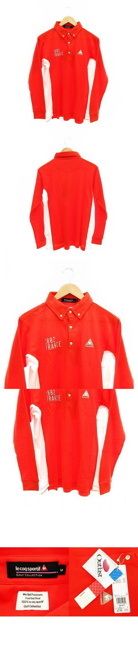 ポロシャツ カットソー ボタンダウン ヘンリーネック 長袖 鹿の子 ワンポイント M 赤 白 /KK