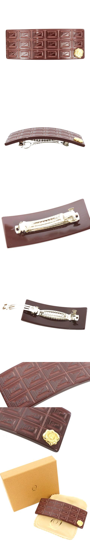 バレッタ ヘアアクセサリー チョコレート風 アクリル ワンポイント 茶色 ブラウン /TM